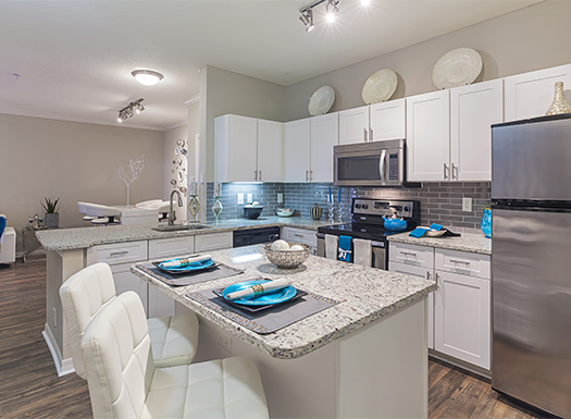 Bell Riverside apartments kitchen with island