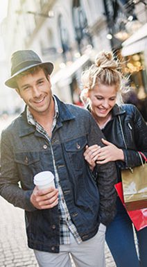 Couple strolling and shopping
